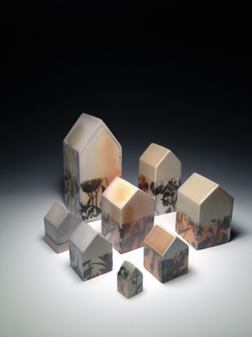 Houses (screenprinted soda fired)