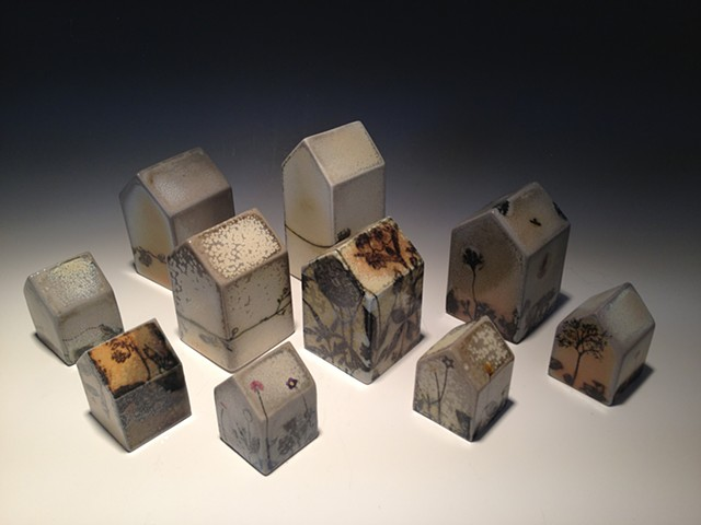 slip cast soda fired porcelain houses with screen print transfers and decals