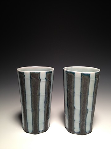 Black and Blue Striped Tumblers