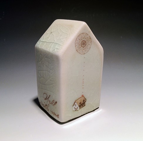 slip cast porcelain house with decal of mandala