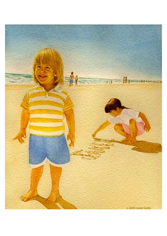 Children at the beach, taking turns writing their name in the sand.