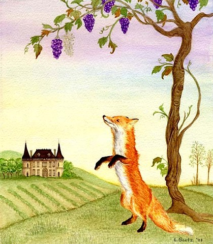 Laura Goetz soft pastel painted color illustration of Aesop's Fable, The fox and the grapes.