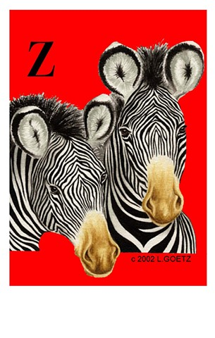 Laura Goetz illustration of two expressive Zebras created for alphabet book.