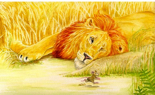 Aesop's Fable, the lion and the mouse.