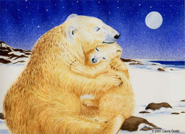 Laura Goetz illustration of mother polar bear hugging baby bear at night.