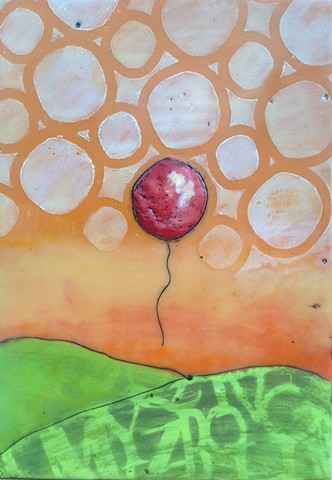 Red Balloon - Encaustic by Virginia Parks, virginiaparksart.com