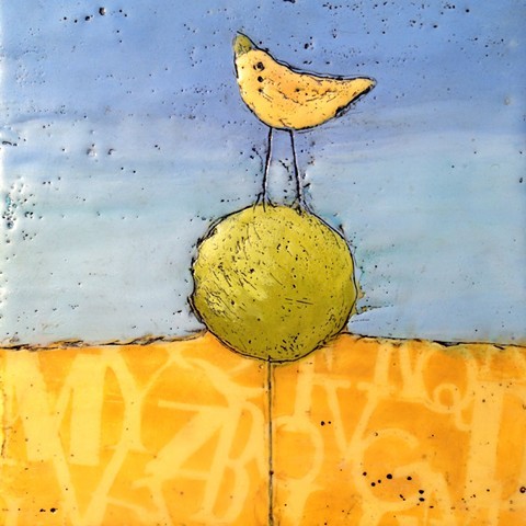 Yellow Bird Topiary - Encaustic by Virginia Parks
