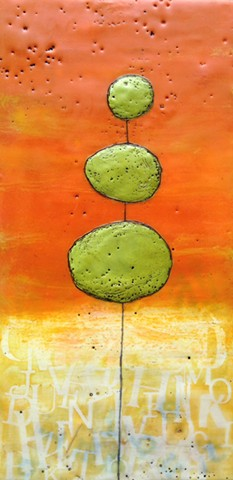 Encaustic painting on wood panel of a whimsical topiary by Virginia Parks