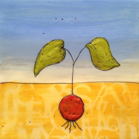 Encaustic painting on wood panel of a sprouting seed, by Virginia Parks