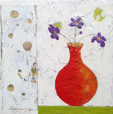 SOLD  Orange Vase - Encaustic by Virginia Parks