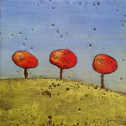 Autumn Trees #3 - Encaustic painting by Virginia Parks