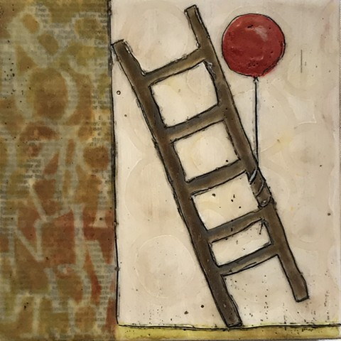 SOLD: Leaning Ladder with Balloon