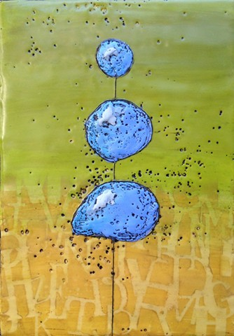Encaustic painting of a whimsical topiary by Virginia Parks - Blue Topiary #7