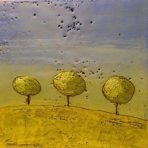 Spring Trees #1  - Encaustic painting by Virginia Parks