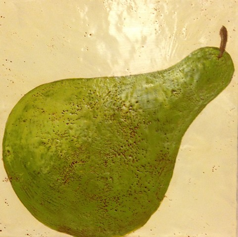 Leaning Pear - encaustic by Virginia Parks