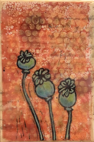 SOLD - Poppies on Red Field