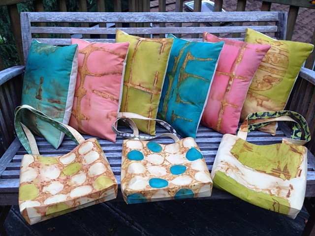 Rusted and Dyed Pillows and Totes