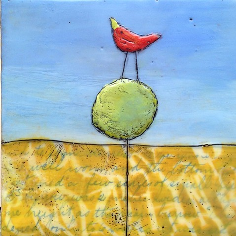 Red Bird Topiary - Encaustic by Virginia Parks