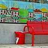 Lanier's Red Bucket with Rita's Red Bench