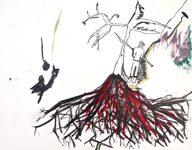 An art piece by Steven Tannenbaum using charcoal and paint to show a person standing with a spear and their feet facing forward and their face the other way, a lightbulb, mountains, trees, roots, and a cave