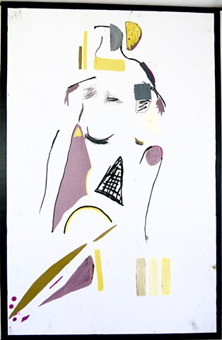 A Bauhaus style work, this figure painting of a nude woman uses a very simple color palette, along with basic shapes and lines - TAO-e The Art of Everything