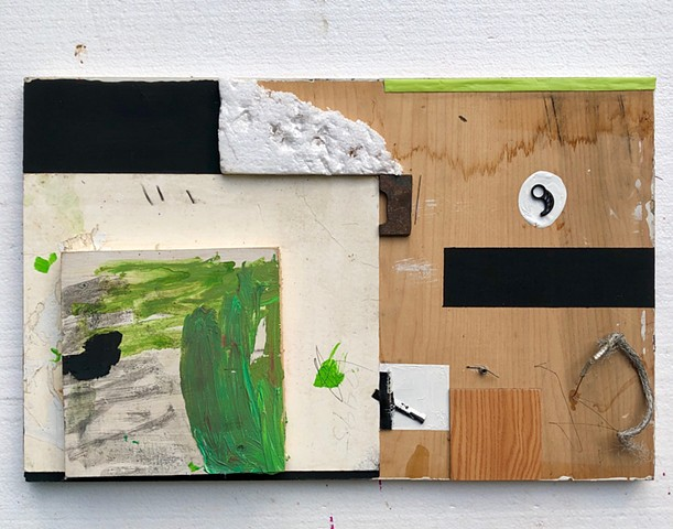 This mixed media piece uses found objects and collage to create an abstract painting
