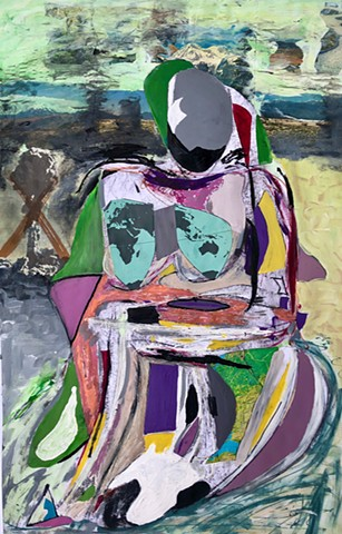 This figure painting uses acrylic paint to depict an abstract, Picasso-like nude woman posing