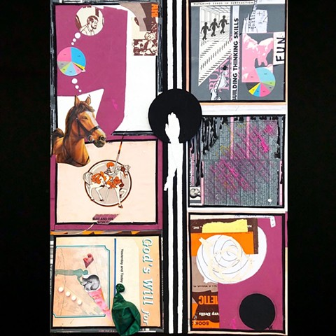 A mixed media piece using collage and paint to paint a semi abstract story divided into squares