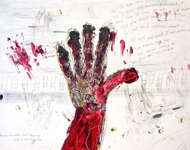 This piece by Steven Tannenbaum of StructureSlash Modern Assemblage art uses acrylic paint and pencil to create a scene of a red hand in front of an audience and some words