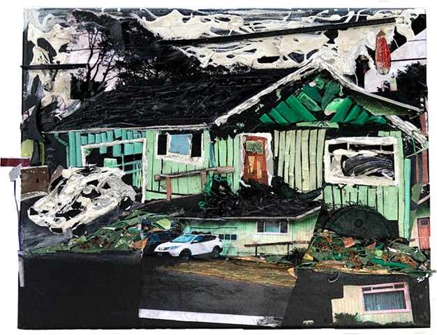 A semi abstract mixed media piece depicting a house, car, sky, and telephone poles made out of found objects, paint, and paper