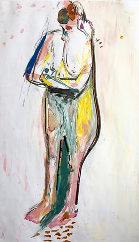 A figure painting by Steven Tannenbaum done from a nude model using acrylic paint, mixed media found objects (orange peel, used firecrackers, plastic), cardboard, and orange peel on paper