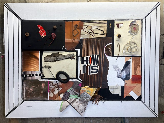 Found object collage using mixed media on panel