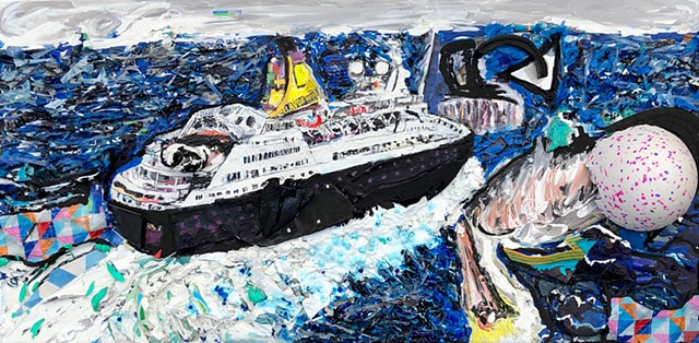 This mixed media piece by Steven Tannenbaum uses found objects, collage, and paint to create a sea scene showing a boat, the sea, and a pelican