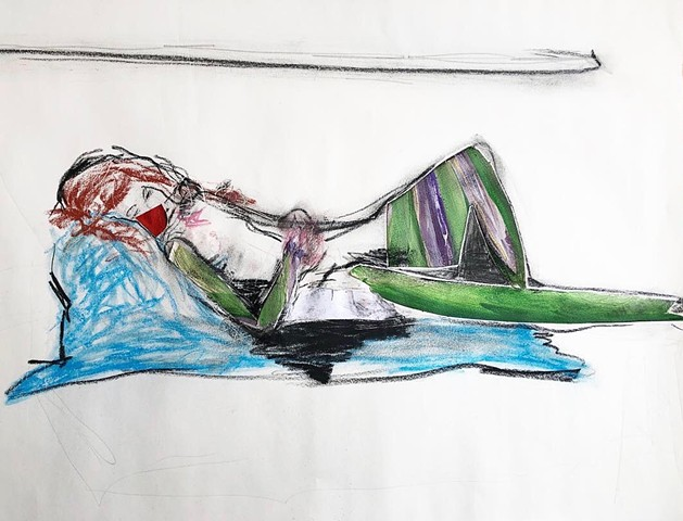 This figure drawing uses pastel and collage to create an image of a woman laying