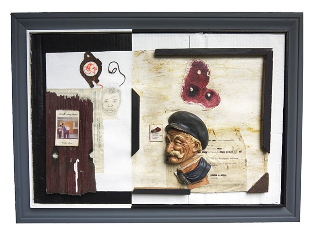 Assemblage art with found pieces and past sketches using black and white to delineate boundaries and create a juxtaposition of images, colors, and objects