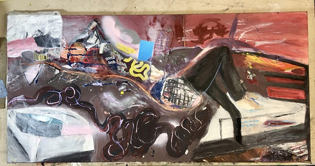 This mixed media found object figure collage is partly abstract and partly realistic, and depicts a woman laying in bed with her pants partway down