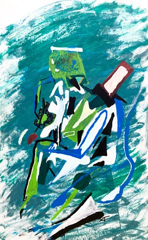 This art piece by Steven Tannenbaum of The Art of Everything (TAO-e) uses abstract forms, shapes, and colors to create a Picasso-like figure sitting a thinking.
