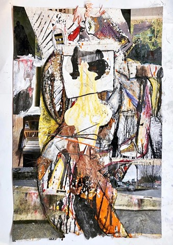 This semi-abstract figure painting by Steven Tannenbaum uses many different medias to show a woman standing in the midst of chaos
