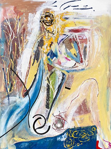 This figure painting by Steven Tannenbaum uses acrylic, pastels, and found objects to represent the nude female body