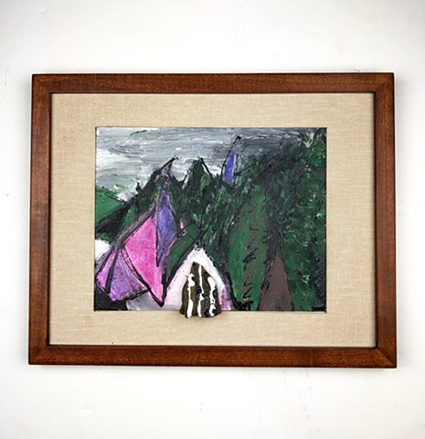 This landscape piece by Steven Tannenbaum uses paint, charcoal, and a found object rock to create a mixed media depiction of hills, mountains, and trees