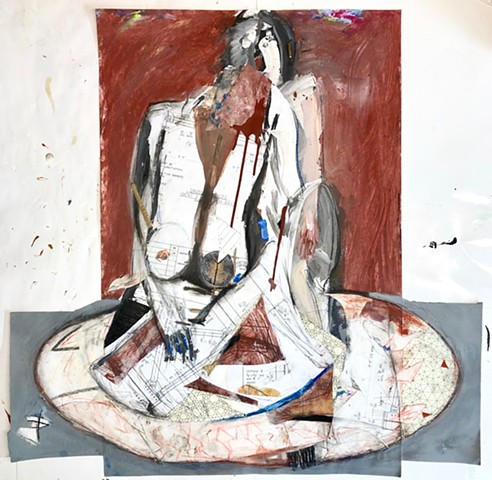 This is a semi abstract figure painting which also uses collage and found objects to create a balance between real and abstraction