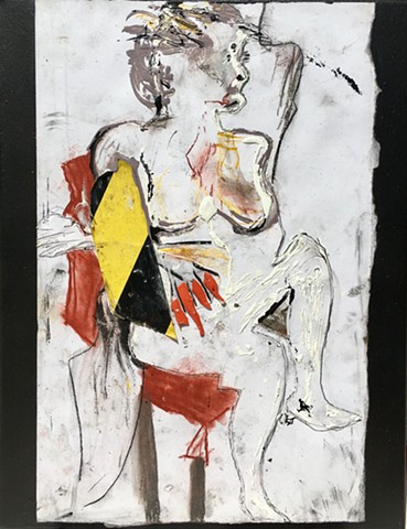 A modern Assemblage art piece by Steven Tannenbaum of STRUCTURESlaah art, this figure portrait uses Found objects, chalk, charcoal, and paint to represent a female nude body.