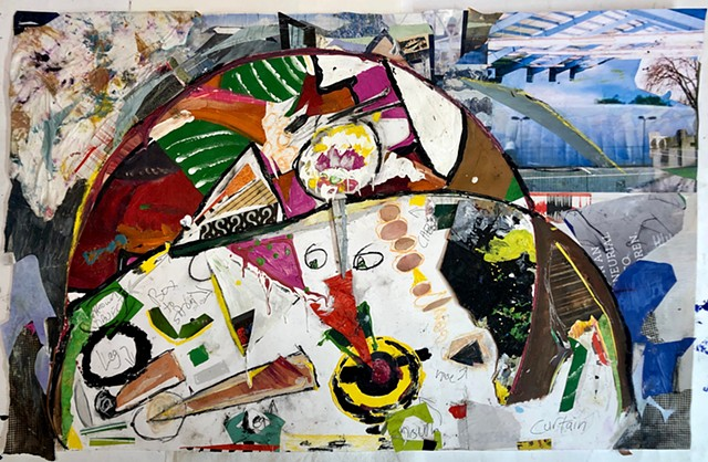 This abstract decollage by Steven Tannenbaum uses various types of mixed media to create the different parts of a body