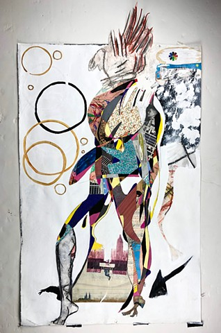 This mixed media piece by Steven Tannenbaum uses collage elements along with paint to depict in an abstract way a woman standing daintily