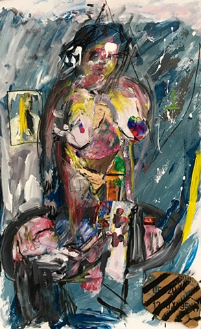 This figure painting by Steven Tannenbaum uses collage and found objects along with paint and charcoal to represent the nude female form