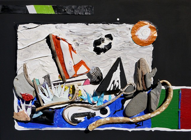This found object collage by Steven Tannenbaum depicts the ocean with a boat, waves, and the sun