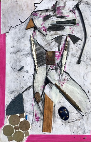 This mixed media piece by Steven Tannenbaum incorporates found objects & designer samples (assemblage) along with acrylic paint and charcoal to create a likeness of a figure who is throwing an elbow over their face