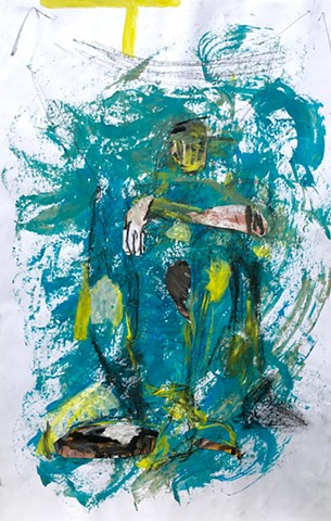 Figure painting by Steven Tannenbaum with acrylic, charcoal, pencil, and collage