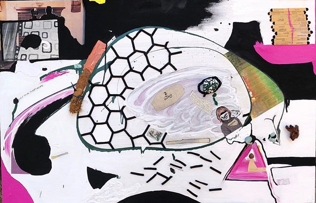 This mixed media collage uses found objects to create a whirling bee hive of activity and flow