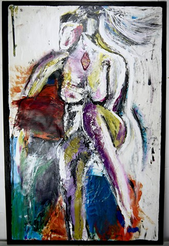This figure painting uses acrylic, charcoal, and graphite to depict a nude woman with crazy hair.